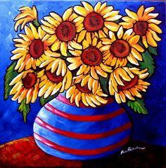 Sunflowers In Striped Vase Whimsical Folk Art by reniebritenbucher