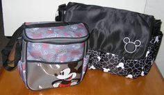 DISNEY BABY MICKEY MOUSE Large Small Diaper Bag Lot Black Grey Boys $39.99