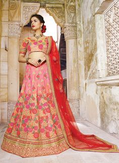 Women's Georgette Fabric & Salmon Pretty A Line Lehenga Style With Lace Work Dupatta