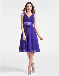 A-line V-neck Knee-length Chiffon Cocktail Dress  – USD $ 99.99