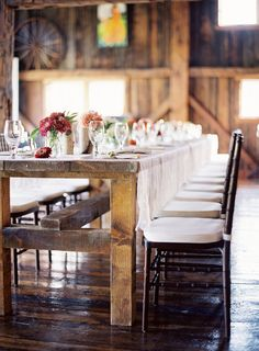 Love a rustic rehearsal dinner Photography by Jose Villa / josevillaphoto.com, Event Design by Moon Canyon Design / mooncanyondesign.com/ #rehearsaldinner #barn #farmtable