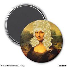 Blonde Mona Lisa 3 Inch Round Magnet