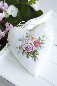 The embroidered shabby chic heart will be a unique gift for a girl. A bouquet of delicate roses is hand embroidered with great love and attention to detail. A shabby chic embroidered heart can brighten a bedroom or living room. Delicate embroidery in natural shades will suit lovers of French country. The linen heart can be used as a wall or door decoration, and can also be hung in your favorite place at home. Love Valentines, Valentine Crafts, Handmade Shop, Etsy Handmade, Country Chic, French Country, Embroidery Ideas, Hand Embroidery, Shabby Chic Hearts