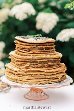 """Worried that your cake alternative won't feel wedding-worthy? If you don't want to deviate too far from a traditional big-day dessert, make a treat shaped like one. Even though this stack was made of flapjacks, the cake-inspired shape made the """"confection"""" feel bridal instead of brunch-ready. #weddingideas #wedding #marthstewartwedding #weddingplanning #weddingchecklist Brunch Wedding, Wedding Desserts, Wedding Cakes, Nothing Bundt Cakes, Heart Shaped Cakes, Wedding Cake Alternatives, Creative Desserts, Homemade Pie, Mini Cakes"""