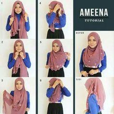 Pashmina Hijab Tutorial, Hijab Style Tutorial, Stylish Hijab, Hijab Casual, Hijab Turban Style, How To Wear Hijab, Simple Hijab, Hijab Fashionista, Islamic Girl