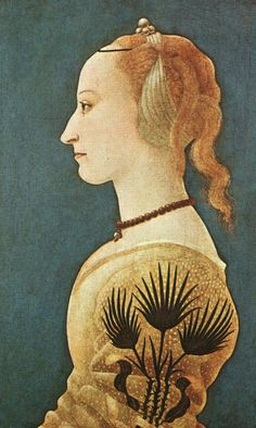 Portrait of a Lady in Yellow, c. 1465.  Stitched to her sleeve is a pattern of three palm leaves  which is probably not merely a decorative pattern but the emblem of her family   or of one into which she has married, or is soon to marry into.  She wears pearls on her head and around her neck which represents her wealth  and her hair is plucked back which was the fashion of the day.