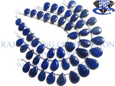 Lapis Lazuli Smooth Pear (Quality AAA) Shape: Pear Smooth Length: 18 cm Weight Approx: 14 to 16 Grms. Size Approx: 9x12.5 to 12x16.5 mm Price $14.40 Each Strand