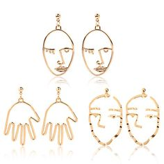 4 Pair Gold Tone Hypoallergenic Earrings Abstract Art Face Statement Drop Earring For Women Girls Vintage Jewelry