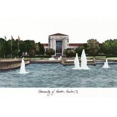 University of Houston Campus Images Lithograph Print, Size: 14 inch x 10 inch