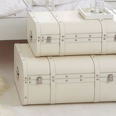 white vintage suitcases