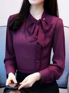 Bowknot Stand Collar Single-Breasted Women's Blouse - Outfits for Work - Designs For Dresses, Dress Neck Designs, Blouse Designs, Collar Designs, Work Fashion, Hijab Fashion, Fashion Dresses, Women's Fashion, Korean Fashion