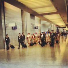 Here they come: #Emirates flight crew on their way to Dubai. #travel #sfo #international