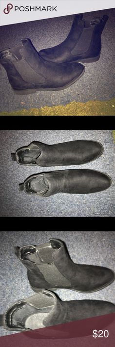 Black suede booties size 8.5 women Black suede booties size 8.5 in women. Only wore once. Will be cleaned or wiped down . Looks better in person . Great for work or weekends. Can't go wrong with a black bootie. Plz excuse my room light. Plz feel free to leave me a comment . Shoes Ankle Boots & Booties