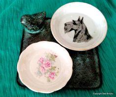 Lot Plates Roses China Scottie Dog Brass by NewEnglandReflection