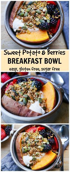 Sweet Potato & Berries Breakfast Bowl | http://nourisheveryday.com | Want an easy, healthy and delicious breakfast bowl you can make in advance? This tasty sweet potato bowl is for you! Gluten free and sugar free.
