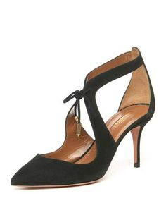 9450bef0a500 Black leather and suede lace-up pump from Jimmy Choo. The Dixon has ...