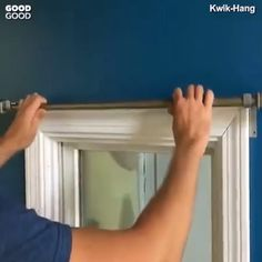 Hanging Curtains Made Ridiculously Easy. Kwik-Hang's revolutionary, no drill curtain rod brackets install in seconds, saving you time and effort. Simply tap into the top of the window trim, and you're done! It's that simple. Home Curtains, Hanging Curtains, Curtains In Kitchen, Tension Rod Curtains, Kitchen Curtain Designs, Curtains For Closet Doors, Apartment Curtains, Small Window Curtains, Swag Curtains