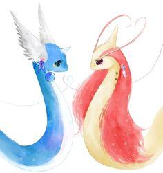 Pokemon Dragonair and Milotic