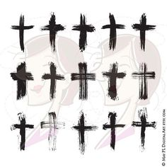 Brush Christian Crosses Catholic Faith Brushstroke Paintstroke Rustic Grunge VECTOR Clipart DIY Sympathy Wedding Card Scrapbook Craft 10651 - Clip art of 15 vintage brushstroke Christian cross. Perfect for use in… Christmas, Engagement or - Jj Tattoos, Future Tattoos, Tattoos For Guys, Sleeve Tattoos, Cool Guy Tattoos, Men Back Tattoos, Unique Tattoos For Men, Maori Tattoos, Pretty Tattoos