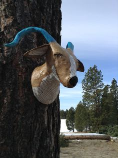 Faux Taxidermy Animal // Faux Taxidermy Goat // by BlueRoosterArts