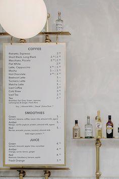 Royal Exchange Grind in London by Biasol Design Studio. Royal Exchange Grind in London by Biasol Design Studio. Menu Board Design, Cafe Menu Design, Cafe Interior Design, Menu Café, Menu Signage, Bar Menu, Restaurant Design, Menu Restaurant, Modern Restaurant
