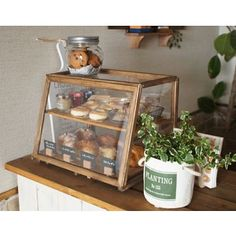 How to make a cafe-style showcase that will come within 2000 yen - キッチン - 結婚式 Bakery Decor, Bakery Interior, Coffee Shop Interior Design, Bakery Cafe, Cozy Coffee Shop, Small Coffee Shop, Coffee Cafe, Bakery Display Case, Bread Display