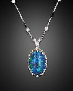 Estate Jewelry, Opal Jewelry, Black Opal Necklace ~ M.S. Rau Antiques