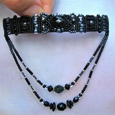 Beaded Barrette - Macrame Barrette, Black and Silver Beadwork, Hair Accessory
