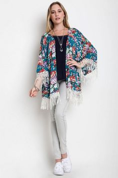Floral Meadows Kimono - Jade >> www.anchorabella.com New Arrivals Daily! Fast, Free Shipping!