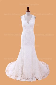 Modern v-neck empire waist lace wedding dress. Would need the neckline to be a narrow v-neck (closer to neck)