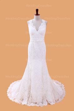 Modern v-neck empire waist lace wedding dress. Would need the neckline to be a narrow v-neck (closer to neck)