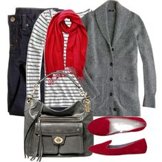 """""""Red and gray"""" by luv2shopmom on Polyvore"""