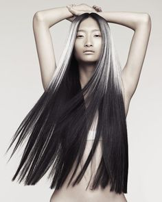 Long black and platinum hair