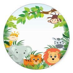 Cute Safari Jungle Baby Shower Favor Sticker Custom Stickers – Real Time – Diet, Exercise, Fitness, Finance You for Healthy articles ideas Festa Safari Baby, Safari Party, Safari Theme, Jungle Safari, Spongebob Birthday Party, Jungle Theme Birthday, Animal Birthday, Dibujos Baby Shower, Baby Shower Favors