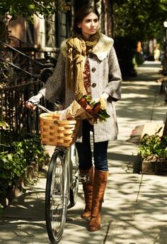 Scarf + Fall Fashion + Bicycle
