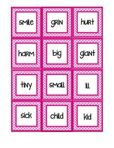 Free!!  36 pairs Synonym Matching Activity