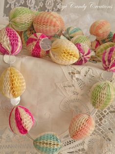 Vintage Honeycomb Easter Egg Garland  ---Love this!