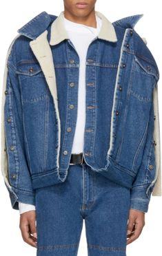 Jean Jacket Design, Half Jacket, Men's Jacket, Reuse Clothes, Deconstruction Fashion, Denim Fashion, Fashion Outfits, Unisex Looks, Estilo Denim