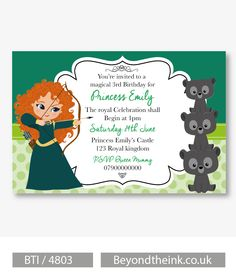 Personalised Brave Merida Invitations.  Printed on Professional 300 GSM smooth card with free envelopes & delivery as standard. www.beyondtheink.co.uk