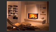 Find out all of the information about the BRUNNER product: closed wood hearth / corner / metal LEFT/RIGHT. Contact a supplier or the parent company directly to get a quote or to find out a price or your closest point of sale. Wood Fireplace Inserts, Corner Gas Fireplace, Living Room With Fireplace, Fireplace Design, Home Living Room, Interior Design Layout, Freestanding Fireplace, New Homes, House Design