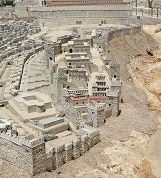The Biblical City of David in the period of Herod's Temple, from the Holy Land Model of Jerusalem. The southern wall of the Temple Mount appears at top. Jerusalem Israel, Israel Palestine, East Jerusalem, Israel Flag, Voyage Israel, Arte Judaica, Temple Mount, Beau Site, Israel Travel