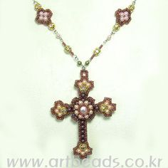 Free Beaded Cross Pendant Pattern 1