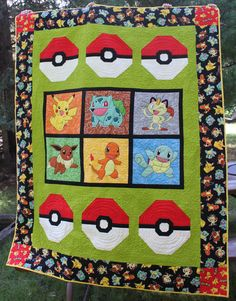 Pokemon Pokeball Quilt Block Pattern by BluePipDesigns on Etsy