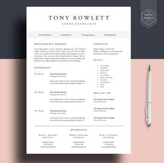"Professional resume template, Resume template for word, cv template, cover letter, lebenslauf, curriculum vitae, ""KEYLA"""