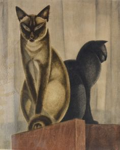 Jacques Nam (French, 1881-1974): Two cats (Deux chats), N/D.  Etching in colors, 37.5 x 30 5 cm