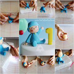 Fondant Baby Boy - step by step Fondant Figures, Fondant People, Pinterest Cake, Baby Birthday Cakes, Fondant Baby, Fondant Tutorial, Diy Cake, Cakes For Boys, Animation Film