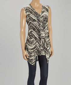 This Black & White Abstract Sleeveless Button-Up Top by Zashi is perfect! #zulilyfinds