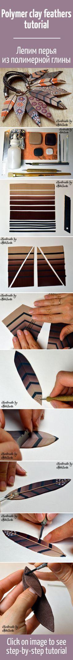 FREE TUTORIAL: Лепим декоративные перья из полимерной глины / Polymer clay feathers tutorial