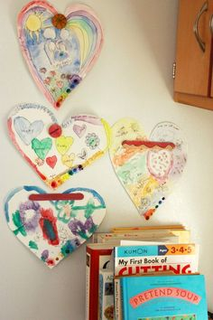 A lovely Valentines Day art activity for children and families with everyone painting a map of their heart: who and what they love and value.