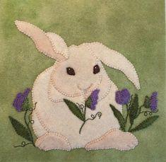 Fiddlesticks Quilt Shop: A Quilt Sampler magazine Featured Shop! Wool Applique Patterns, Hand Applique, Felt Applique, Wool Quilts, Baby Quilts, Bunny Art, Bunny Pics, Farm Animal Quilt, Quilting Classes